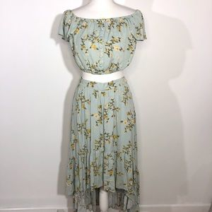 Xhilaration Small Blue Floral High Low Skirt Set